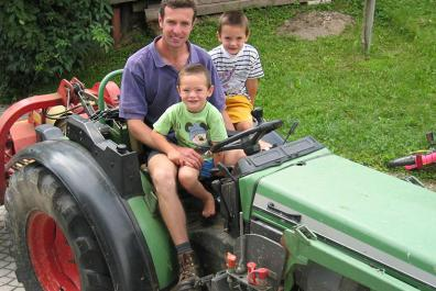 Driving the tractor through the orchards